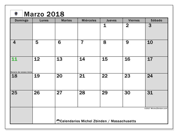 Calendario Massachusetts, marzo 2018