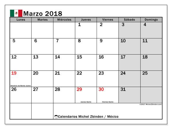 Calendario marzo 2018, con los días feriados en México. Calendario imprimible gratis.