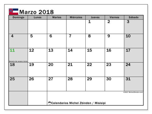 Calendario marzo 2018, con los días feriados de Misisipi. Calendario imprimible gratis.