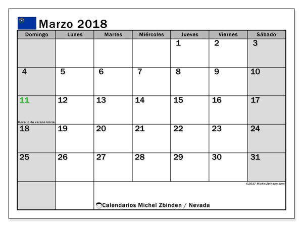 Calendario Nevada, marzo 2018