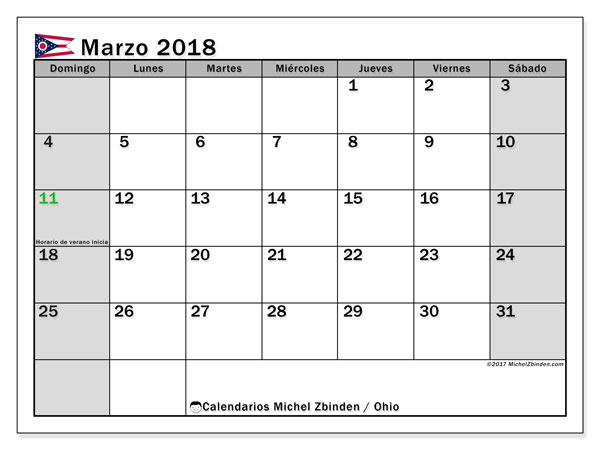 Calendario Ohio, marzo 2018