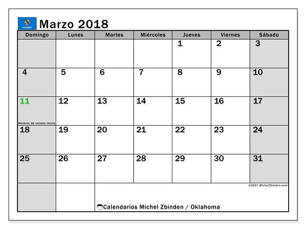 Calendario marzo 2018, con los días feriados de Oklahoma. Calendario para el mes para imprimir gratis.