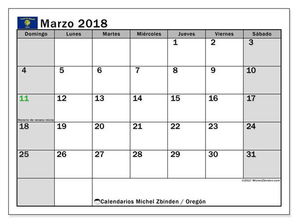 Calendario marzo 2018, con los días feriados en Oregón. Planificación para imprimir gratis.
