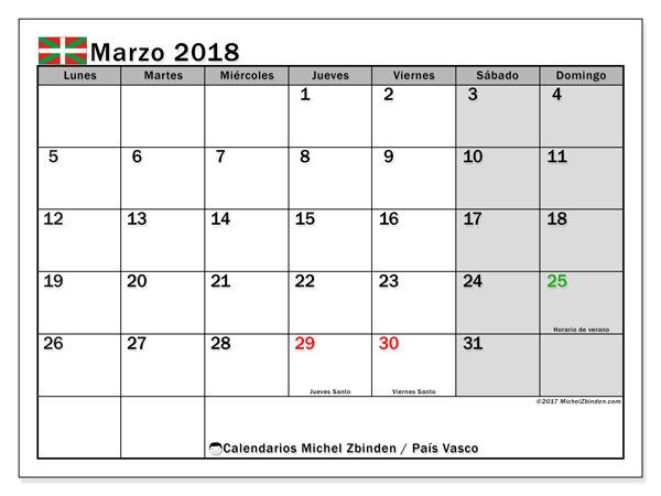 Calendario marzo 2018, con los días festivos del País Vasco. Calendario imprimible gratis.