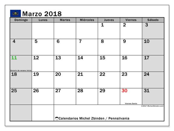 Calendario marzo 2018, con los días feriados en Pennsilvania. Calendario gratuito para imprimir.