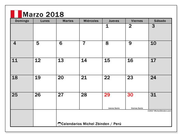 Calendario marzo 2018, con los días feriados para Perú. Almanaque para imprimir gratis.