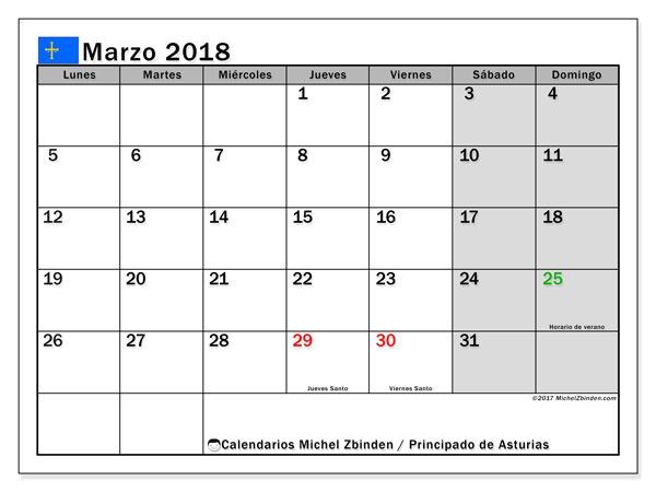 Calendario marzo 2018, con los días festivos del Principado de Asturias. Calendario para el mes para imprimir gratis.