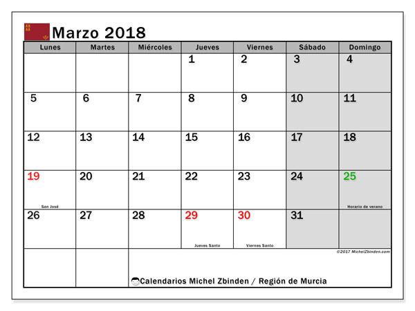 Calendario marzo 2018, con los días festivos en la Región de Murcia. Almanaque para imprimir gratis.