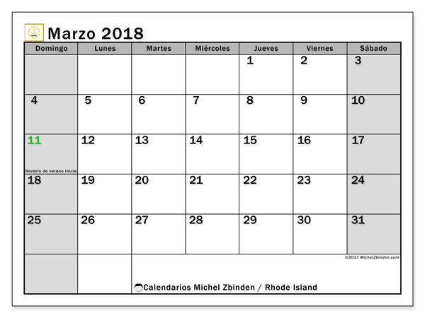 Calendario marzo 2018, con los días feriados en Rhode Island. Planificación para imprimir gratis.