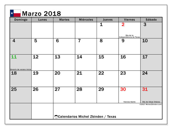 Calendario Texas, marzo 2018