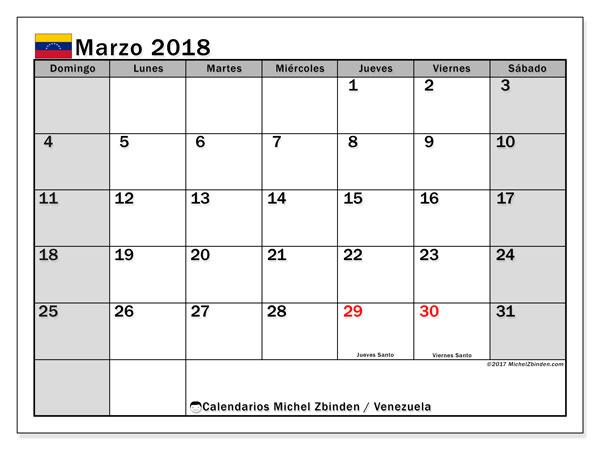 Calendario marzo 2018, con los días feriados para Venezuela. Calendario para el mes para imprimir gratis.