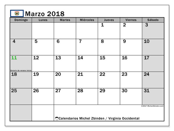 Calendario Virginia Occidental, marzo 2018