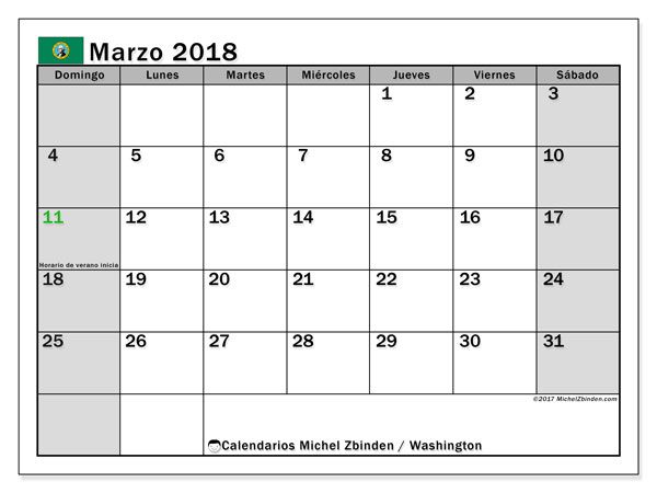 Calendario Washington, marzo 2018
