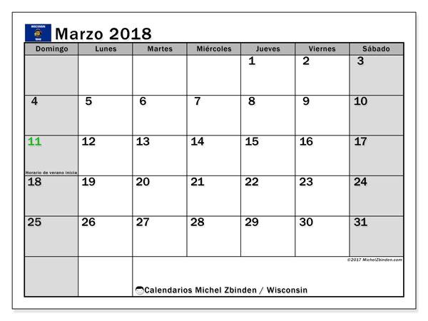 Calendario marzo 2018, con los días feriados en Wisconsin. Calendario para imprimir gratis.