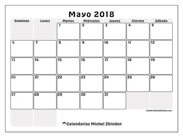 Calendario  mayo de 2018, 44DS