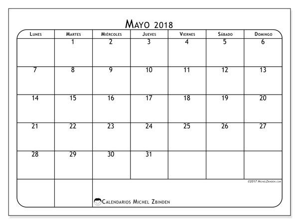 Calendario mayo 2018 (51LD). Calendario para imprimir gratis.