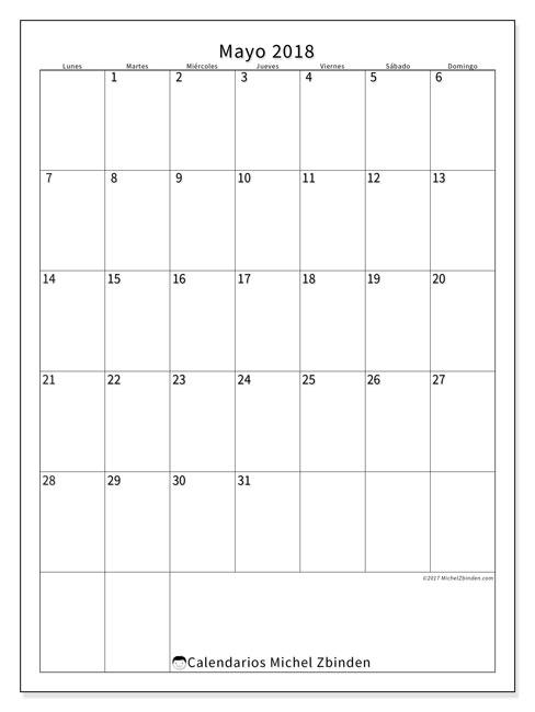 Calendario  mayo de 2018, 52LD