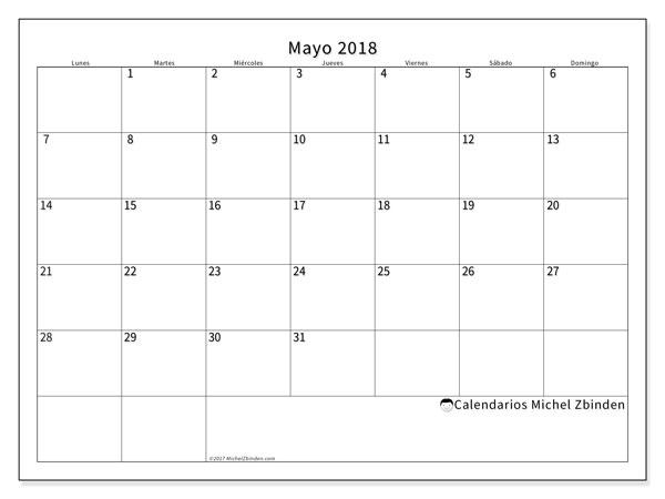 Calendario  mayo de 2018, 53LD