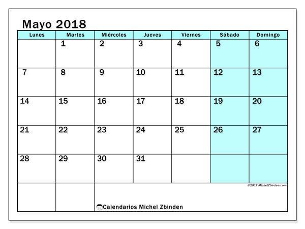 Calendario mayo 2018 (59LD). Calendario para el mes para imprimir gratis.