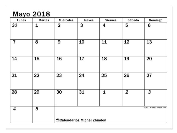 Calendario mayo 2018 (66LD). Calendario imprimible gratis.
