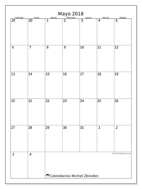 Calendario  mayo de 2018, 68DS