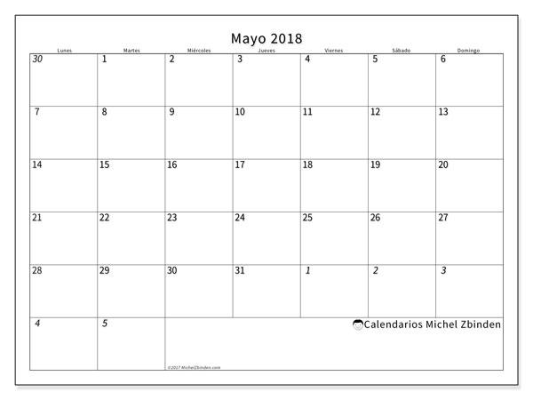 Calendario mayo 2018 (70LD). Almanaque para imprimir gratis.