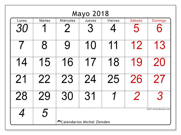 Calendario mayo 2018 (72LD). Calendario imprimible gratis.