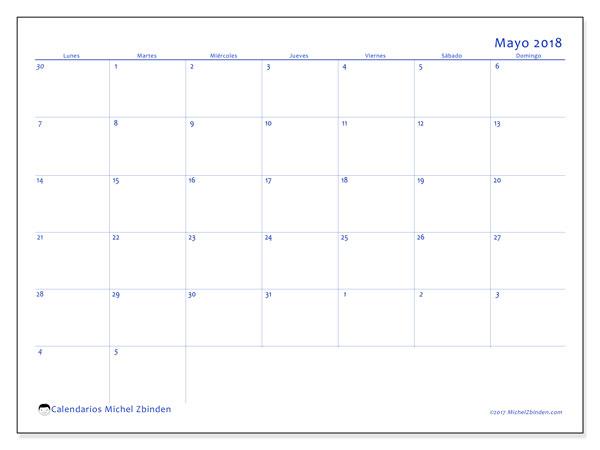 Calendario mayo 2018 (73LD). Calendario gratuito para imprimir.