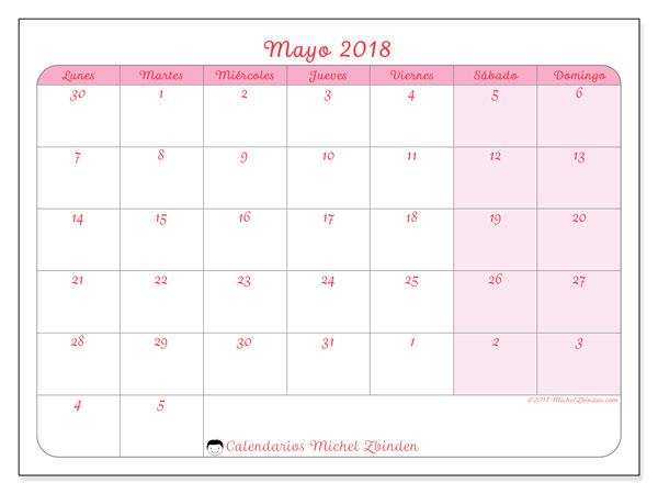 Calendario mayo 2018 (76LD). Planificación para imprimir gratis.