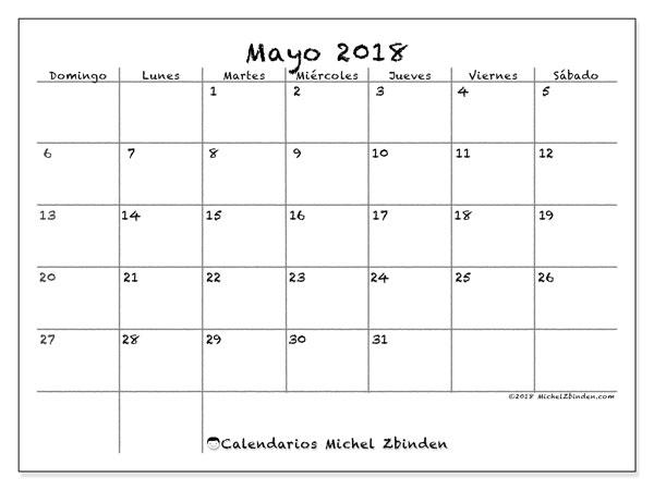 Calendario  mayo de 2018, 77DS