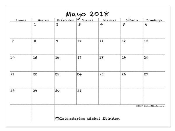 Calendario  mayo de 2018, 77LD