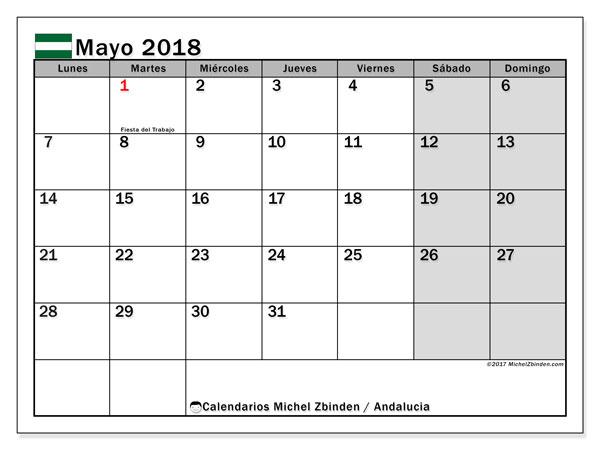 Calendario mayo 2018, con los días festivos de Andalucia. Almanaque para imprimir gratis.