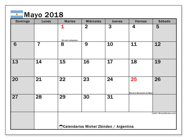 Calendario mayo 2018, con los días feriados en Argentina. Calendario mensual para imprimir gratis.