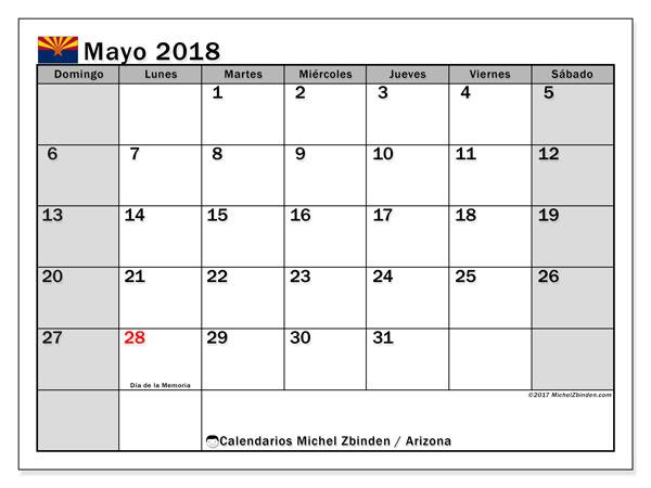 Calendario mayo 2018, con los días feriados en Arizona. Calendario para imprimir gratis.