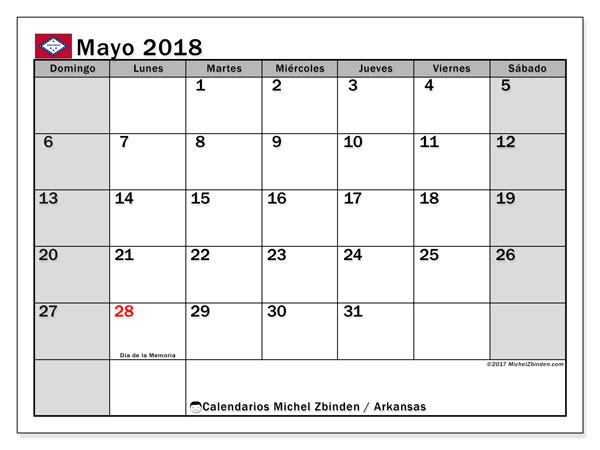 Calendario mayo 2018, con los días feriados de Arkansas. Calendario mensual para imprimir gratis.
