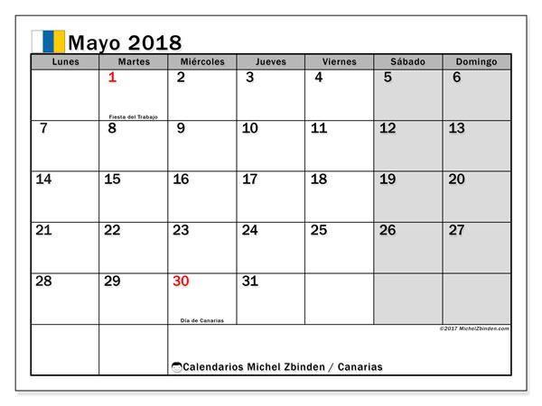 Calendario mayo 2018, con los días festivos de las Islas Canarias. Almanaque para imprimir gratis.