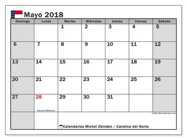 Calendario mayo 2018, con los días feriados en Carolina del Norte. Calendario gratuito para imprimir.