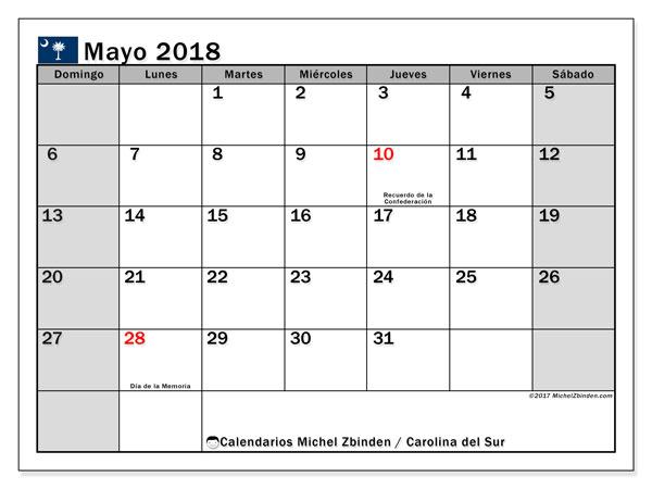 Calendario mayo 2018, con los días feriados en Carolina del Sur. Calendario mensual para imprimir gratis.