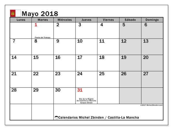 Calendario mayo 2018, con los días festivos de Castilla-La Mancha. Calendario para imprimir gratis.