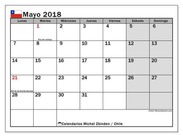 Calendario mayo 2018, con los días feriados para Chile. Calendario imprimible gratis.