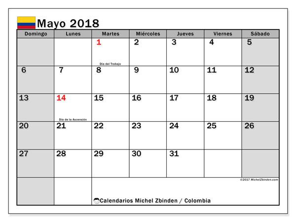 Calendario mayo 2018, con los días festivos en Colombia. Calendario imprimible gratis.