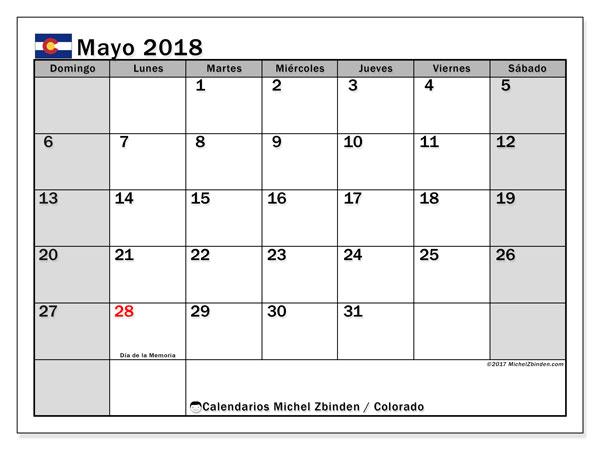 Calendario mayo 2018, con los días feriados enColorado. Calendario mensual para imprimir gratis.