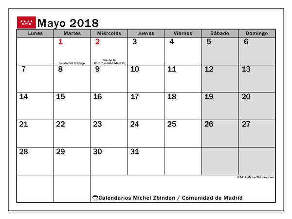 Calendario mayo 2018, con los días festivos de la Comunidad de Madrid. Calendario mensual para imprimir gratis.