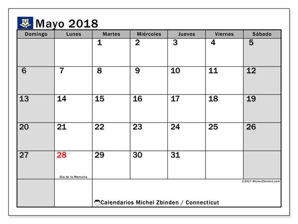 Calendario mayo 2018, con los días feriados en Connecticut. Calendario gratuito para imprimir.
