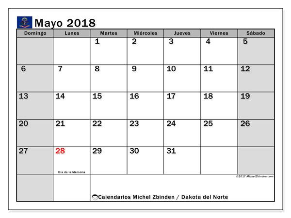 Calendario mayo 2018, con los días feriados en Dakota del Norte. Calendario mensual para imprimir gratis.