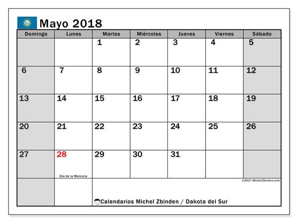 Calendario mayo 2018, con los días feriados de Dakota del Sur. Calendario imprimible gratis.