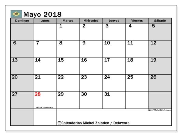 Calendario mayo 2018, con los días feriados de Delaware. Calendario mensual para imprimir gratis.
