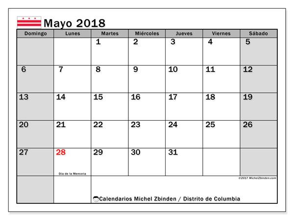 Calendario mayo 2018, con los días feriados del Distrito de Columbia. Almanaque para imprimir gratis.