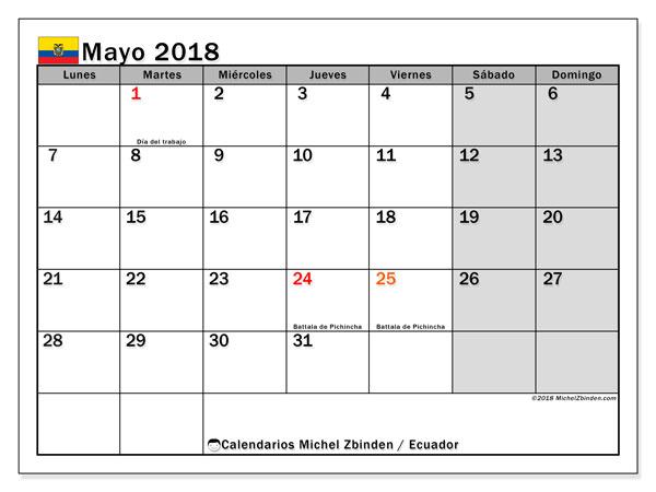 Calendario mayo 2018, con los días feriados para Ecuador. Calendario para imprimir gratis.