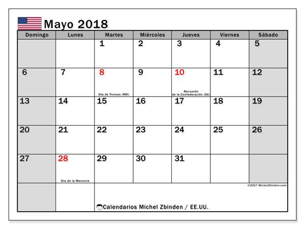 Calendario mayo 2018, con los días feriados en EE.UU.. Calendario gratuito para imprimir.
